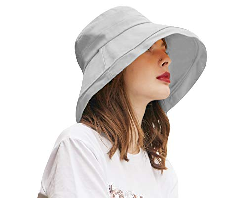 CACUSS Faltbarer Damen Sommerhut Herren Sonnenhut Sommer hat UPF 50+ UV Schutz Boonie Fischerhut für Reise und Outdoor grau XL