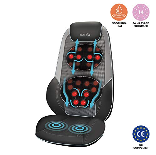HoMedics Shiatsu Max 2.0 Back and Shoulder Massager - Adjustable Massage Chair, Relaxes Shoulder, Back and Upper Leg Muscles with Shiatsu, Rolling, Vibration, Soothing Heat Treatments + More - Grey