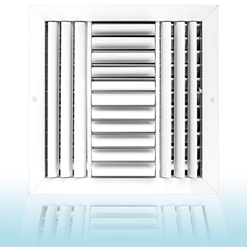 12 x 12 Ceiling Vent Cover in Aluminum, Air Diffuser HVAC air Supply Vent. 4 Way air Direction with Adjustable Curved Blades and Multi- Shutter Damper. The Best air Vent for Home HVAC Systems. White