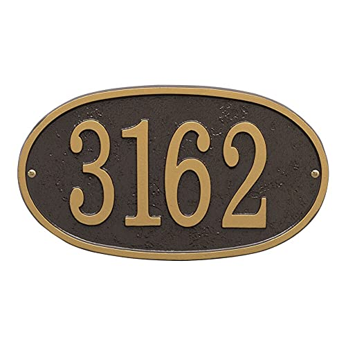Whitehall Personalized Cast Metal Address Plaque - Custom House Number Sign - Oval (12  x 6.75 ) - Bronze with Gold Numbers