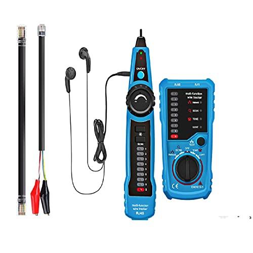 Rastreador de cables, Probador de cables RJ11 RJ45 Buscador de línea Rastreador de cables multifunción Tóner Ethernet Probador de cables de red LAN, Probador de líneas telefónicas