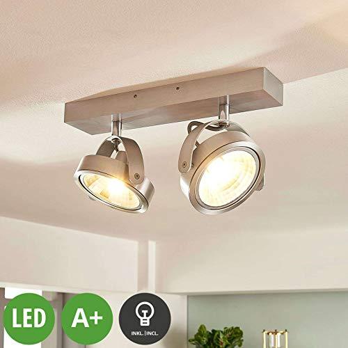 Arcchio LED Deckenlampe 'Lieven' dimmbar (Modern) in Alu aus Aluminium u.a. für Küche (2 flammig, G9, A+, inkl. Leuchtmittel) - Deckenleuchte, Wandleuchte, Strahler, Spot, Lampe, Küchenleuchte