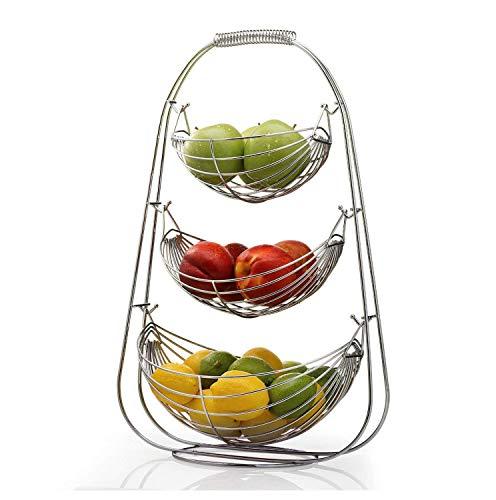 YYQIANG Chrome Swinging Fruit Hammock Vegetable Bowl Basket Rack Storage Stand Holder New storage, plate (Size : B)