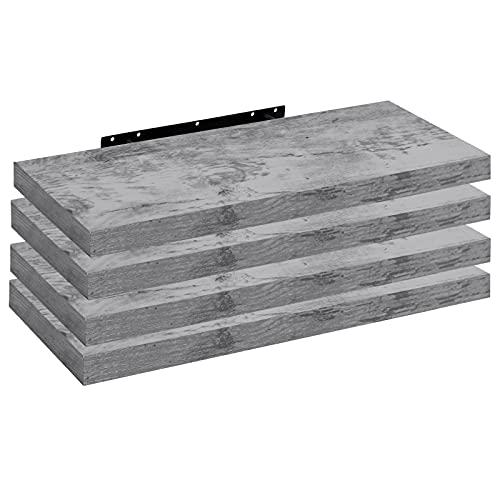 WOLTU RG9315grei-4 4X Wandregal Wandboard Bücherregal Regale für Deko Wandablagen aus MDF Holz, 4er Set Hängeregal Grau Eiche, 120x23x3,8cm