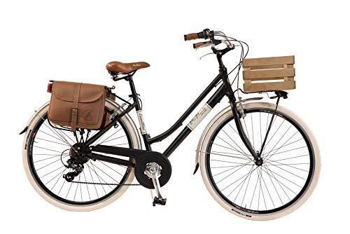 Via Veneto by Canellini Damen Citybike CTB Vintage Stil Rad Cityrad Fahrrader Bike Aluminium mit Korb Kassette (Schwarz, 46)