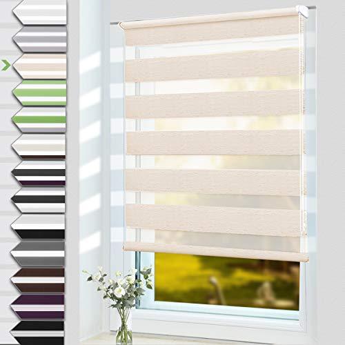 OUBO Doppelrollo Klemmfix ohne Bohren 50 x 150 cm (BxH) Natur Fenster Duo Rollo - lichtdurchlässig und verdunkelnd Wandmontage Deckenmotage Sichtschutz Rollo mit Klemmträgern