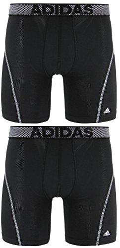 Paquete de 2 prendas de ropa interior Midway ClimaCool de rendimiento deportivo de 23 cm de Adidas para hombre - 103742, Large, Black/Thunder Grey