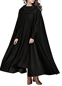 Romacci Women Hooded Cloak Cape Halloween Open Front Poncho Coat Warm Winter Costume Cosplay Outerwear with Full Length