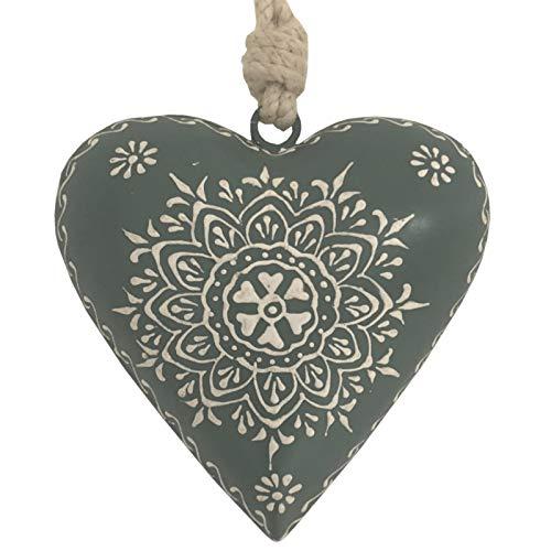L'ORIGINALE DECO Cœur à Suspendre en Métal Fer Patiné Gris 13 cm x 13 cm