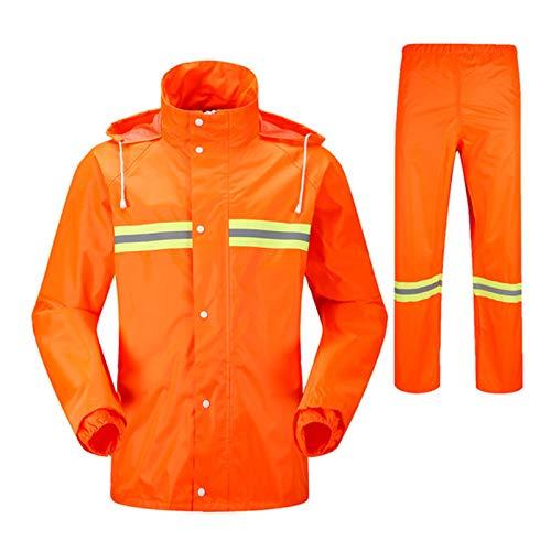 KDOAE Impermeables para Hombres y Mujeres Adultos y niños Que va de excursión al Aire Libre Chaqueta Impermeable del Impermeable Impermeable Bicicleta Camping Senderismo (Color : Oranje, Size : L)