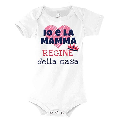 Body Bimba Idea Regalo per la Festa della Mamma, Io e la Mamma Regine della casa, Neonata Infanzia (Bianco, 3-6 Mesi)