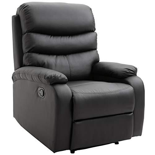 HOMCOM Liegesessel Relaxsessel Sessel Liegefunktion Neigungswinkel 168 ° Schwarz 81 x 90 x 105 cm