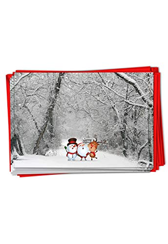 The Best Card Company - 12 Beautiful Christmas Cards with Envelopes (1 Design, 12 Cards) - Bulk Boxed Set of Holiday Greetings - Santa Paths B6716BXSG