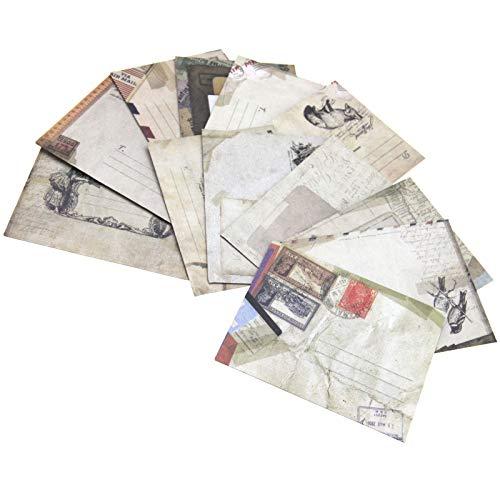 12 sobres de papel kraft vintage para tarjetas, etiquetas, regalo, 9,7 cm x 7,5 cm