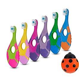 6 Pack – Baby Toothbrush, 0-2 Years, Soft Bristles, BPA Free | Toddler Toothbrush, Infant Toothbrush, Training Toothbrush, Includes Free Toothbrush Holder