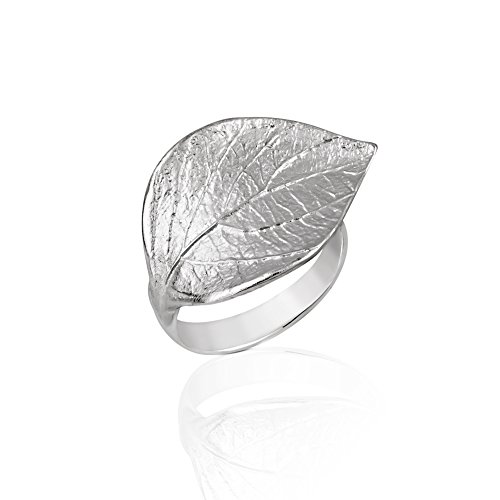 925 Sterling Silver Wide Large Nature Inspired Symbolic Leaf Wrap Around Band Ring, Adjustable 6-9