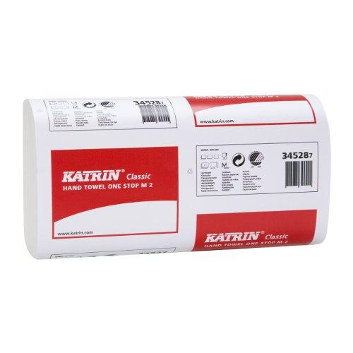 Falthandtuch Katrin Classic One-Stop M2 weiß, 2-lagig, 20,6x25 cm, Interfalz, 21x160=3360 Tücher im Karton #345287