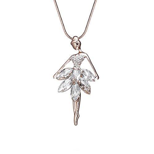 Collana da donna Collana con pendente a forma di ballerina abbagliante con cristallo lucido per collana a catena lunga placcata oro da donna (Oro rosa)