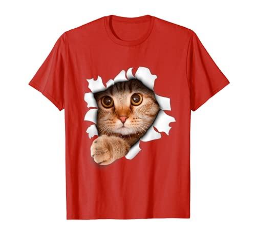 Sweet Kitten Cat Torn 3D Funny Cat Lover Camiseta Camiseta