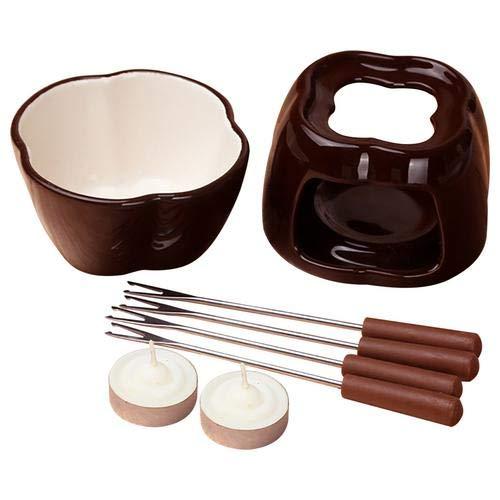 Keramik Fondue Set Schokolade Fondue Topf Käse Porzellan Schmelztöpfe mit Teelicht Kerzen Schmelztopf Fondue Set Küchenzubehör für Käse oder Schokolade Idee für Familienparty