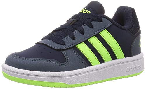 adidas Hoops 2.0 K Basketball Shoe, Legink/SIGGNR/LEGBLU, 37 1/3 EU
