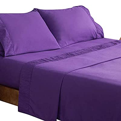 Bedsure Purple Plum Eggplant Bed Sheet Set - Embossed Bed Sheets - Soft Brushed Microfiber, Wrinkle Resistant Bedding Set - 1 Fitted Sheet, 1 Flat Sheet, 2 Pillowcases (Queen, Purple)