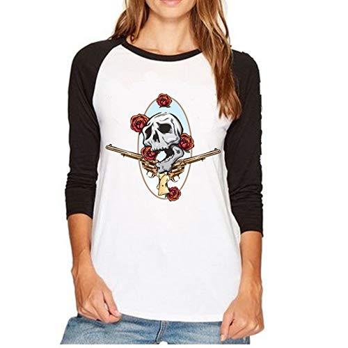 Guns and Roses Camiseta raglán de Manga Larga con Cuello Redondo para Mujer