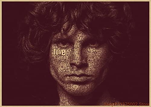 GaoDashan The Doors Jim Morrison Vintage Retro Rock Band Música Guitarra Poster Wall Home Decora Decoración de Pared 50x70 cm (19,68x27,55 in) A-905
