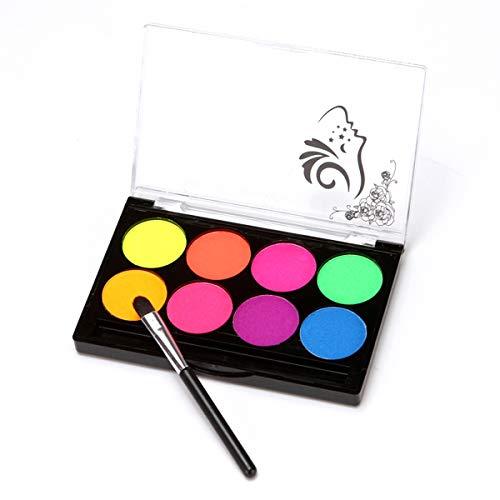 Topuality Kit de pintura para el cuerpo facial Pintura profesional a base de agua 8 Colores con 1 pincel No tóxico Sin sabor para disfraces de Halloween Rendimiento de fiesta de maquillaje