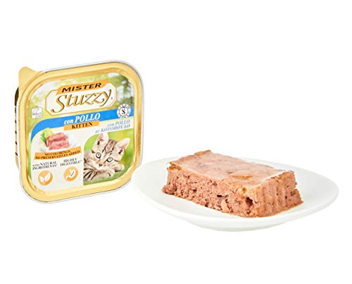 Mister Stuzzy, Cibo Umido per Gatti Cuccioli al Gusto Pollo, Linea Paté e Carni in Pezzi - Totale 3,2Kg (32 Vaschette da 100G)