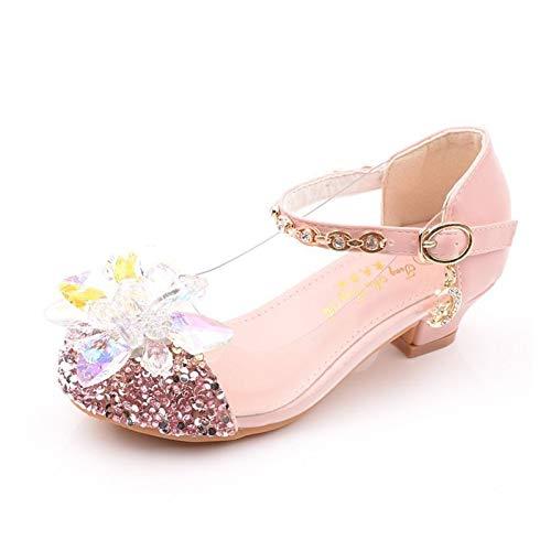 Youpin Zapatos de cristal para niñas y niños, de tacón alto, zapatos formales, para bailar, zapatos de cuero, color rosa y plateado (color: rosa, talla de zapato: 37)