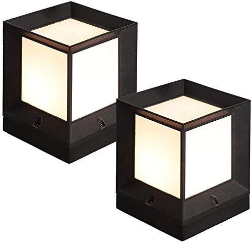 ?2-Pack Traditional Black Square S ule lamps - Modern lawn landscape south pillar lamp - decking patio lighting IP55 waterproof Villa Wall column Lantern Lights - Park Au s Torch Light, Color: 16 * 16