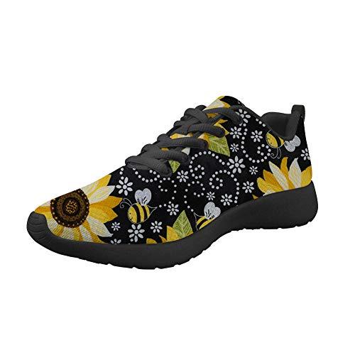 Amzbeauty Zapatillas deportivas de malla para correr para mujer con ajuste ligero, brillante, para deportes al aire libre, transpirable, estampado de flores 2-8UK, color Negro, talla 34 EU