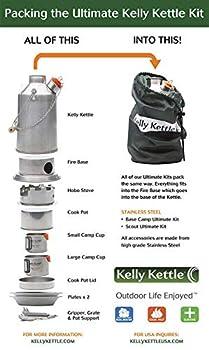 Ultimate 'Scout' Kelly Kettle Kit - Valeur Affaire (Inclus 1.2 Litre Acier Inoxydable Camping + Vert Sifflet + Cuisinier Ensemble + Hobo Poêle + Coupes (2 Pièces) + Plaques (2 + Pot Support + Sac