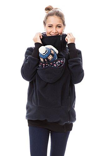 GoFuture Damen Tragejacke für Mama und Baby Känguru Klassiker Viva GF2301XH5 Marine mit Pilzen Gr. 42