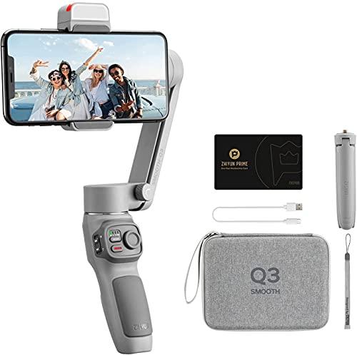 Zhi Yun Smooth Q3 3-Achsen Handheld Stabilisator Gimbal für Smartphone mit Stativ, Phone Gimbal mit Fülllicht vom Touch-Button-Typ (Combo Package)