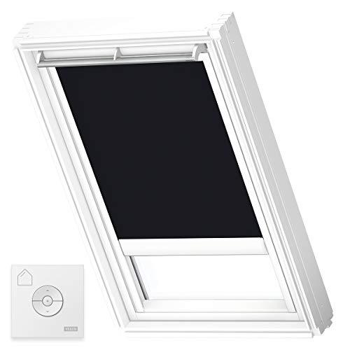 VELUX Original Solar-Verdunkelungsrollo (DSL), Weiße Seitenschienen, M08, 308, 2, Schwarz