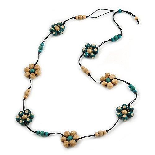 Avalaya, collana con corda di cotone, nera, con perline e fiori di colore verde e legno naturale, lunga 116 cm