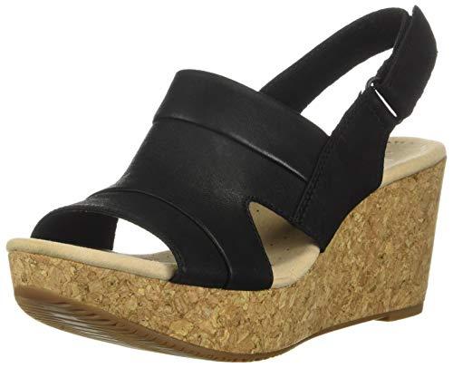 Clarks Women's Annadel Ivory Wedge Sandal, Black Nubuck, 070 M US