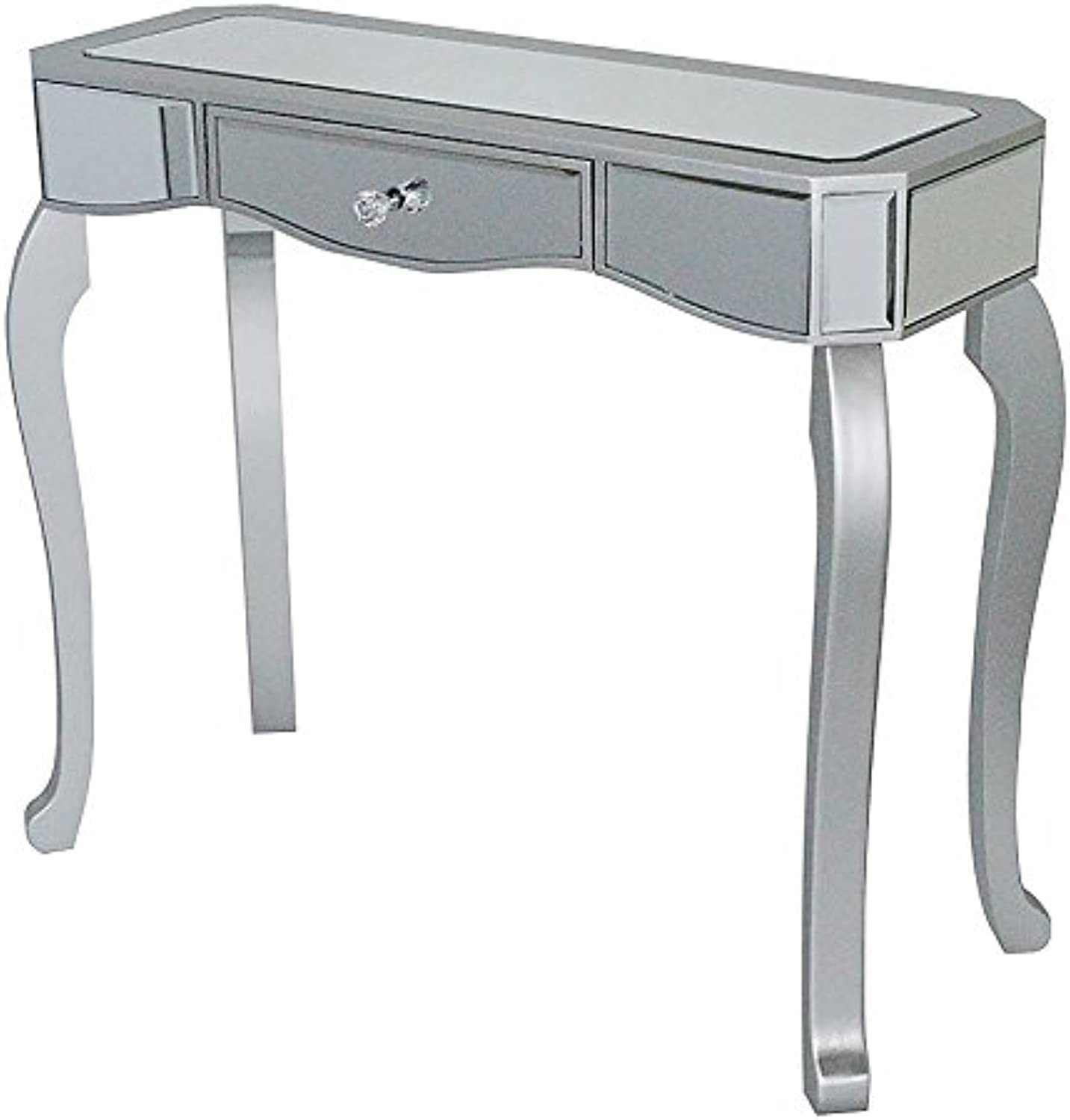 Heather Ann Creations W192154-SILV 30.7  Katrina Collection Console Living Room Office Writing Table with Drawer and Mirror Accents, Silver
