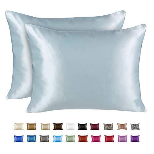ShopBedding Luxury Satin Pillowcase for Hair – Standard Satin Pillowcase with Zipper, Baby Blue (Pillowcase Set of 2) – Blissford