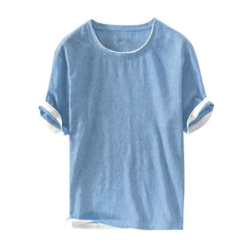 Dasongff katoenen shirt linnen shirt met turn-up mouwen patchwork korte mouwen pulli ronde hals zomertop vrije tijd shirt heren overhemd effen bovenstuk XX-Large blauw
