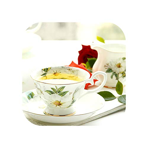 Royal Bone China Coffee Cup and Saucer Set Ceramic Flower Tea Cup Household Porcelain Tea Sets Coffee Cups Coffe Cup-British Camellia-