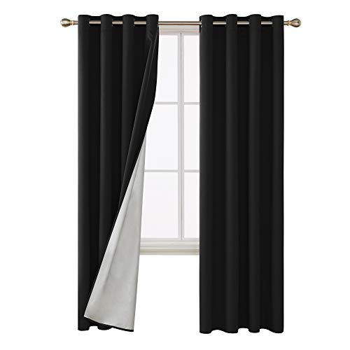 Deconovo Blackout Curtains with Silver Coated Silver Back Grommet Top Thermal Insulated Window Drapes for Living Room 52W x 95L Inch Black 2 Panels