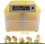 Incubatrice per Uova, Incubatrice Digitale 112 Uova, Incubatrice Girante Automatica Schiusa Pollame, Controllo Intelligente per Covare Pollo Anatra Oca Quaglia Uccelli Tacchino,Giallo