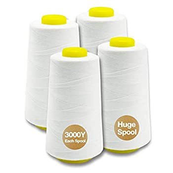 Serger Thread Cones 4 Pack of 3000 Yards Each Spool  Regular Size  Sewing Thread All-Purpose Polyester Thread for Sewing Machine Embroidery Machine 3000 Yards Each Spool