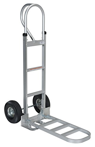 Vestil APHT-500A Aluminum Hand Truck with P Handle, Pneumatic Wheels, 300 lbs Load Capacity, 50-1/2' Height, 20' Width X 19' Depth