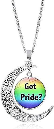 LDKAIMLLN Co.,ltd Collar Moda Hombre Orgullo Gay Bandera del Arco Iris Foto Cabujón Cristal Plata Luna Creciente Amante Regalos de Moda Collar Colgante Regalo para Hombres Mujeres Niñas Niños