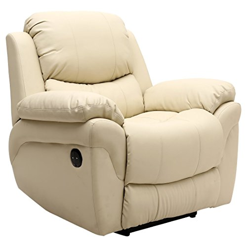 More4Homes (tm) MADISON ELECTRIC BONDED LEATHER AUTOMATIC RECLINER ARMCHAIR SOFA HOME LOUNGE CHAIR (Cream)