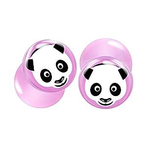 BIG GAUGES Pair Pink Acrylic Panda Face Double Flared Tunnel Piercing Jewelry Ear Stretcher Plugs Flesh Earring Lobe